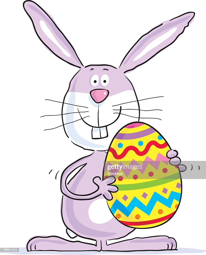 animated eater bunny holding a pastel decorated easter egg vector