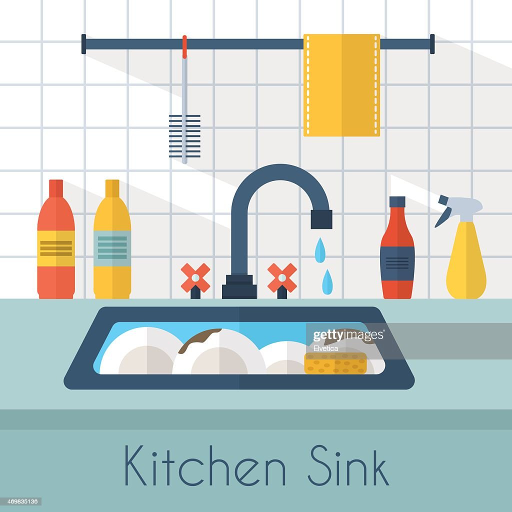 Kitchen sink with dishes Drying Rack Animated Kitchen Sink With Dishes And Water Dripping Photodune Animated Kitchen Sink With Dishes And Water Dripping Vector Art
