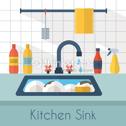 Animated Kitchen Sink With Dishes And Water Dripping Vector Art ...