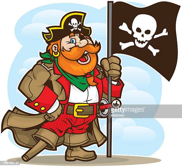 Animated pirate mascot with wooden leg and skull flag