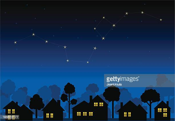 Animation of a constellation above house silhouettes