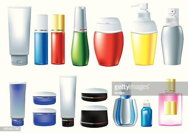 Animation set of various cosmetic bottles and containers