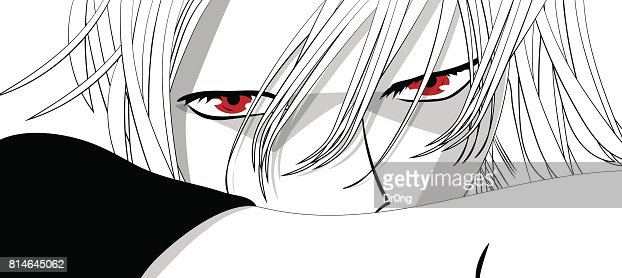 Anime eyes red eyes on white background anime face from cartoon vector illustration
