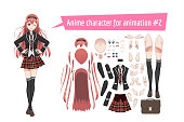 Anime manga schoolgirl in a red tartan skirt, stockings and schoolbag. Cartoon character in the Japanese style. Set of elements for character animation