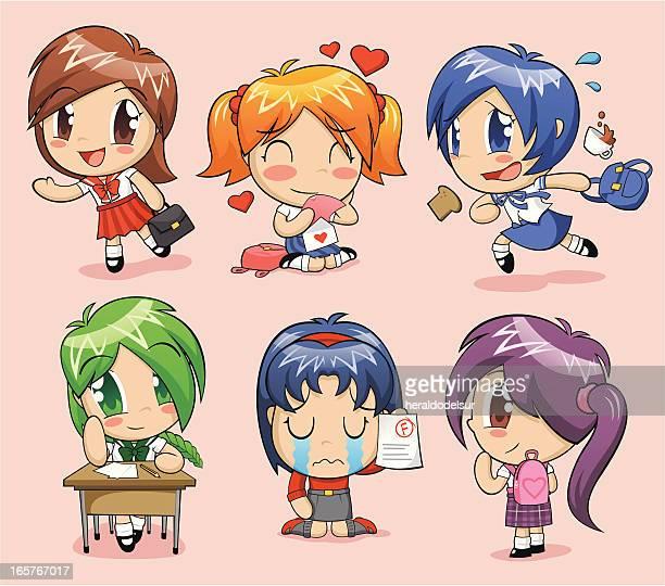 Anime schoolgirls
