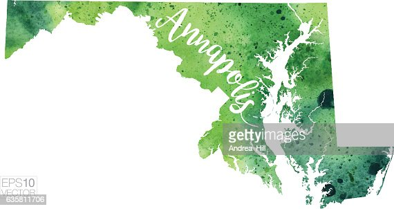 Baltimore Maryland Vector Watercolor Map Vector Art Getty Images - Maryland usa map