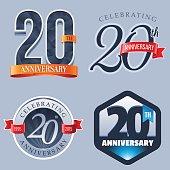 A Set of Symbols Representing a Twentieth Anniversary/Jubilee Celebration