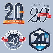 A Set of Symbols Representing a Twentieth Anniversary/Jubilee Celebration