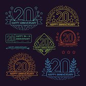 Anniversary 20th signs collection in outline style. Celebration labels with sunburst elements.