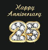 Anniversary 25th years birthday in gold and diamonds vector image template