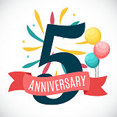 Anniversary 5 Years Template with Ribbon Vector Illustration EPS10