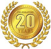 Illustration of anniversary celebration gold icon design
