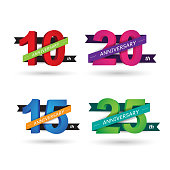 Anniversary celebration of numbers background. vector illustration