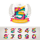 Anniversary icon celebration signs with abstract papercut shapes, laurel wreath and ribbon, set of numbers in trendy paper cut style. Vector illustration. Design for poster, greeting card or brochure