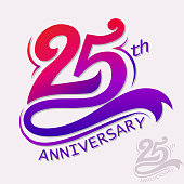 25th Years Anniversary Design, Template celebration sign. Vector