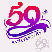 50th Years Anniversary Design, Template celebration sign. Vector