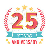 25 Years anniversary emblem with ribbon, laurel wreath and stars, vector eps10 illustration