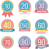 Set of round anniversary emblems with ribbons, vector eps10 illustration