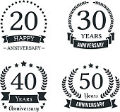 4 different anniversary icon templates, anniversary emblems, vector eps10 illustration