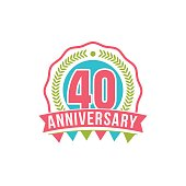 Anniversary forty years number. 40th years festive Logo and greeting for invitation decor. Flat style vector illustration isolated on white background. Birthday badge with ribbon