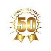 Anniversary golden fifty years number. 50th years festive and greeting with sunburst for invitation decor. Flat style vector illustration isolated on white background. Gold badge with ribbon