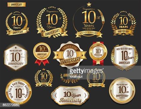 Anniversary golden laurel wreath and badges vector collection : stock vector