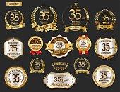Anniversary golden laurel wreath and badges vector collection