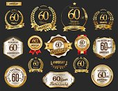Anniversary golden laurel wreath and badges vector collection