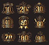 Anniversary golden numbers set. Festive compositions and greeting, with firework and stars for poster and card decor. Flat style vector illustration isolated on black background. Gold badges with ribb