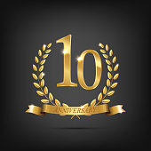 10 anniversary golden symbol. Golden laurel wreaths with ribbons and tenth anniversary year symbol on dark background. Vector anniversary design element.