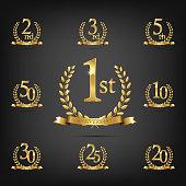 Anniversary golden symbol set. Golden laurel wreaths with ribbons and anniversary year symbols on dark background. Vector anniversary design element.