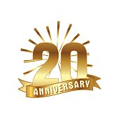 Anniversary golden twenty years number. 20th years festive icon and greeting with sunburst for invitation decor. Flat style vector illustration isolated on white background. Gold badge with ribbon