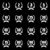 Anniversary label collection. Laurel wreath design. Anniversary icon
