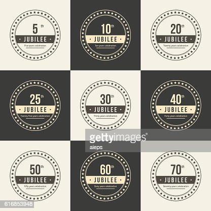 Anniversary logotype. 5th, 10th, 20th, 25th, 30th, 50th, 60th logo. : Vector Art