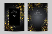 Anniversary luxury backgrounds with gold stars decoration. Vertical posters with decorative elements