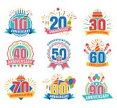 Anniversary numbers set. Festive compositions and greeting, with firework and stars for poster and card decor. Flat style vector illustration isolated on white background. Birthday badges with ribbon