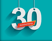 30 Anniversary numbers with ribbon. Flat origami style with long shadow. Vector illustration