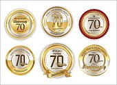 Anniversary retro vintage golden badges collection 70 years