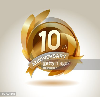 anniversary ribbon logo with golden circle and graphic elements : stock vector