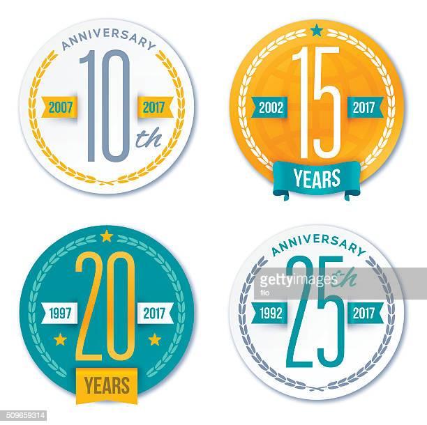 Divisa Aniversario decorativo diseño elementos y símbolos