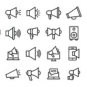New announcement or advertisement ! this line vector icons set composed with loudhailer, bull horn, promote, speaker, advertise, promotion, and speaker, advertisement and announcement line vector icon