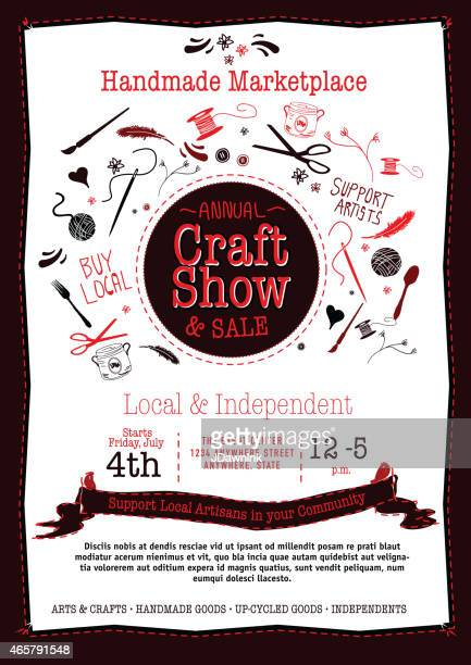 Annual Craft Show and Sale Poster Invitation black, red white