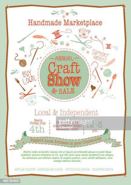 Programa anual de artesanías venta cartel invitación orange y verdes