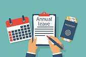 Annual leave. Holiday break enjoyment. Man at the desk writes in the clipboard. Calendar and passport with tickets for air travel. Vector illustration flat design. Isolated on background.