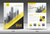 Annual report cover, Business brochure flyer template, Yellow cover design, Book cover, Magazine, advertisement, infographic vector, business flyer template, advertisement, infographic vector