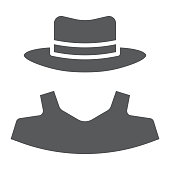 Anonymity glyph icon, detective and private, agent sign, vector graphics, a solid pattern on a white background, eps 10.