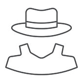 Anonymity thin line icon, detective and private, agent sign, vector graphics, a linear pattern on a white background, eps 10.