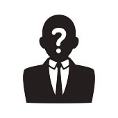 Anonymous user icon, black silhouette of man in business suit with question mark on face. Profile picture vector illustration.
