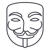 anonymous,mask carnival,hacker vector line icon, sign, illustration on white background, editable strokes