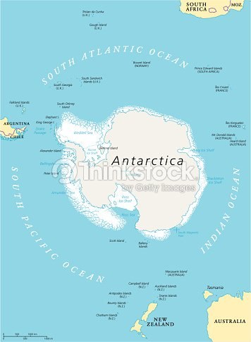 Antarctic Region Political Map Vector Art Thinkstock